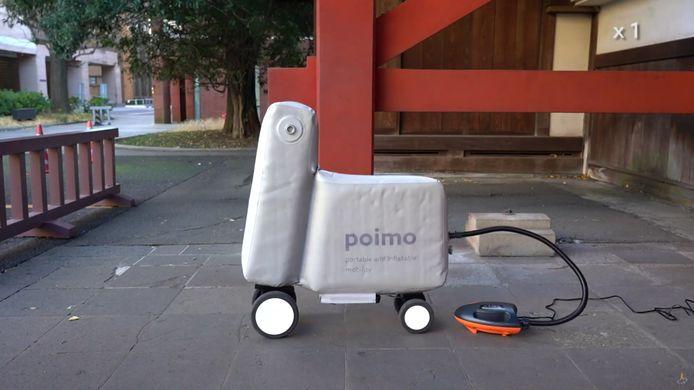 Een elektrische pomp wordt meegeleverd met de Poimo-scooter