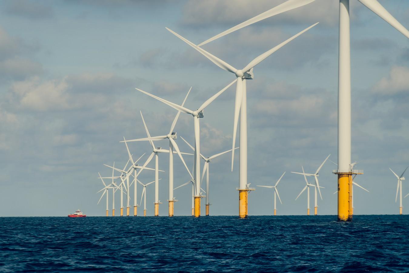 Het zeilbootje werd geklist in de buurt van het windmolenpark op de Noordzee.