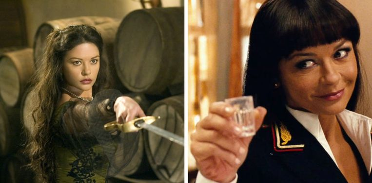 Links: Zeta-Jones in 'Zorro'. Rechts: Catherine in 'Red 2'