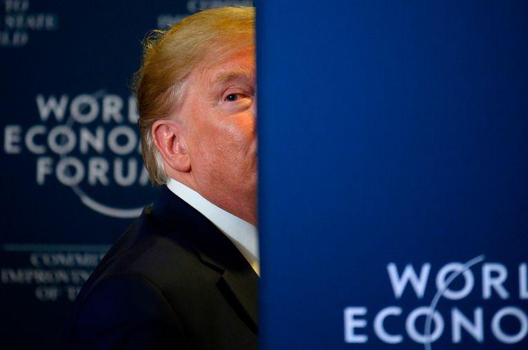 De Amerikaanse president Donald Trump op het World Economic Forum in Davos, Zwitserland vandaag.