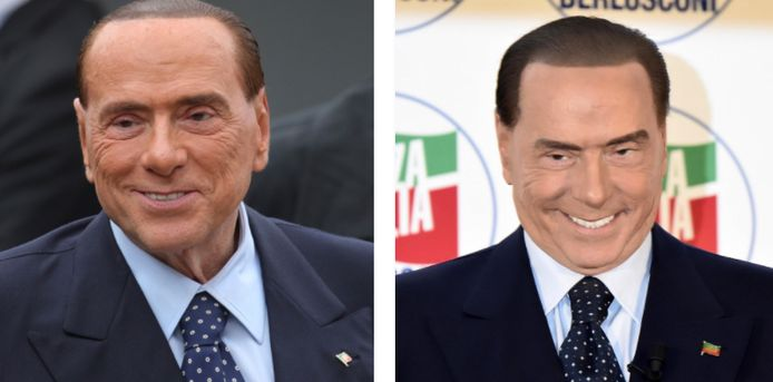Berlusconi in  oktober en een dikke maand later op zijn partijcongres. Op de foto rechts zijn de tanden van de voormalige premier beduidend witter en heeft hij haast geen rimpels meer.