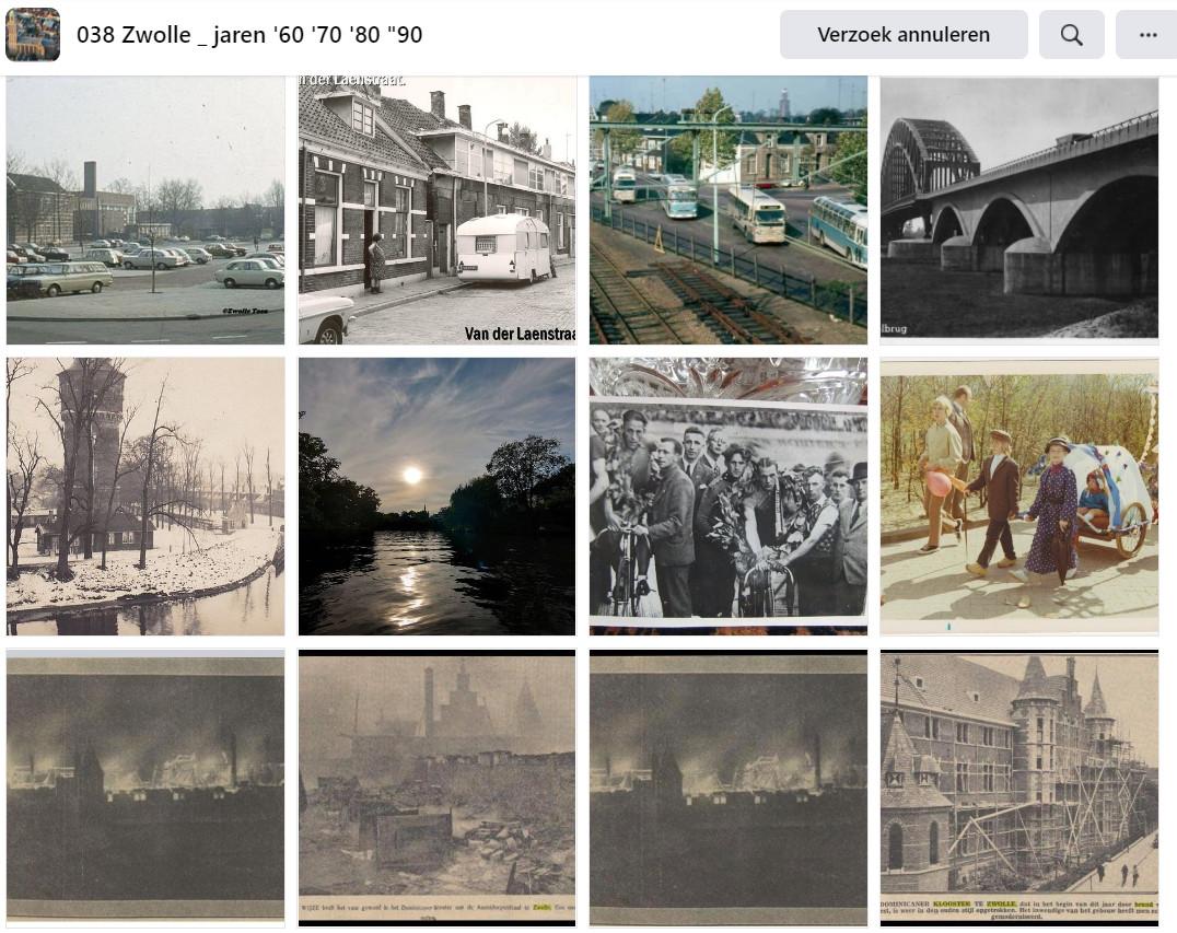 """Een collage van de vele nostalgische beelden op de Facebookpagina '038 Zwolle _ jaren '60 '70 '80 """"90'."""