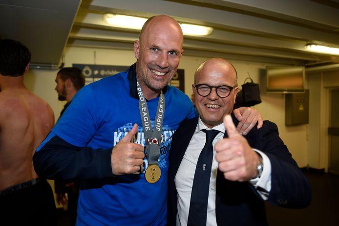 Clement en Club-voorzitter Bart Verhaeghe vieren de titel van Club.