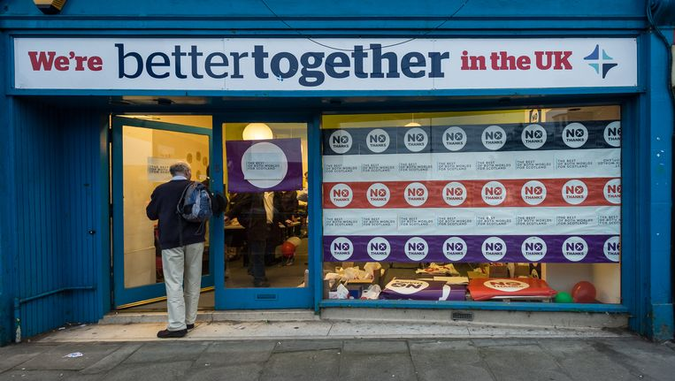 Een kantoor van de 'Better Together'-campagne die bij het vorige referendum tegen de Schotse onafhankelijkheid was. Beeld Getty Images