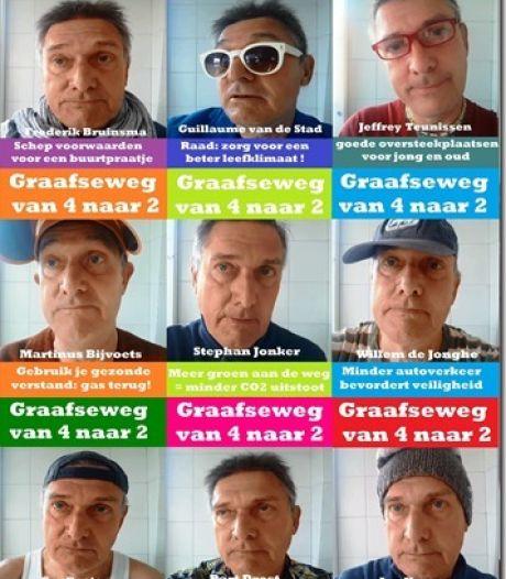 'Heren van Graafseweg' pleiten in online video voor versmalling van vier- naar tweebaans