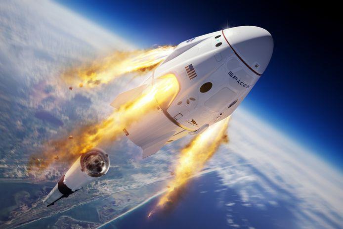Een illustratie van de Crew Dragon van SpaceX.