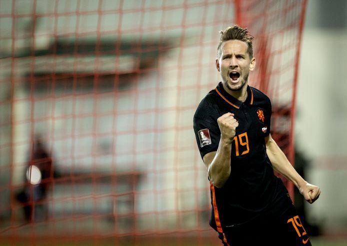 Luuk de Jong in het shirt van het Nederlands elftal.