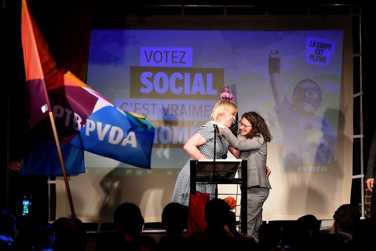 Maria Vindevoghel (links) geraakte verkozen als lijsttrekker voor de PTB-PVDA in Brussel.