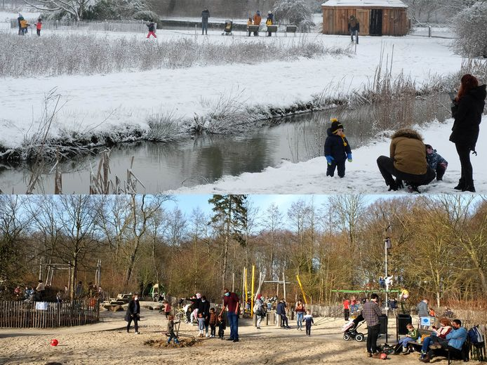 Sneeuw en zon in het Vrijbroekpark in Mechelen.
