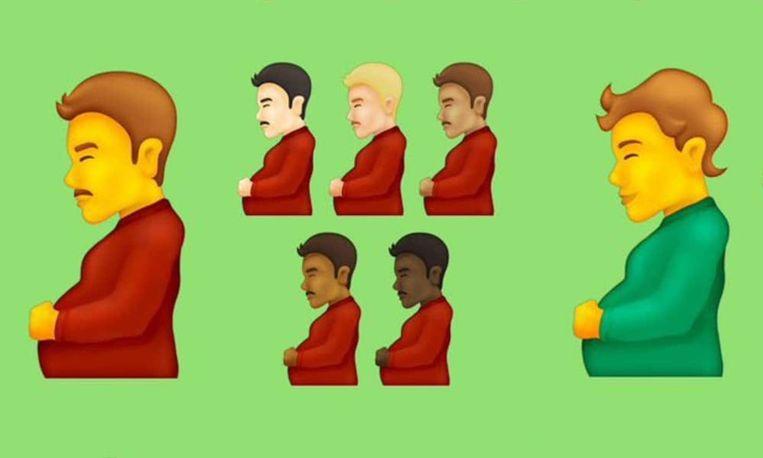 De nieuwe emoji van een zwangere man. Beeld Unicode Consortium