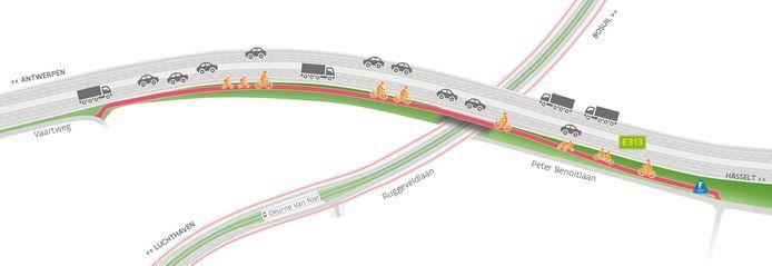 Bijzonder is dat het fietspad gedeeltelijk op de bestaande snelwegbrug over de Ruggeveldlaan wordt aangelegd.