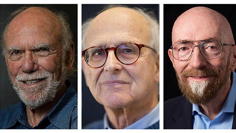 Barry Barish, Rainer Weiss en Kip Thorne.