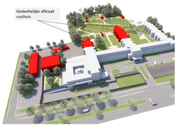 De gedeeltelijke afbraak van het huidige woonzorgcentrum
