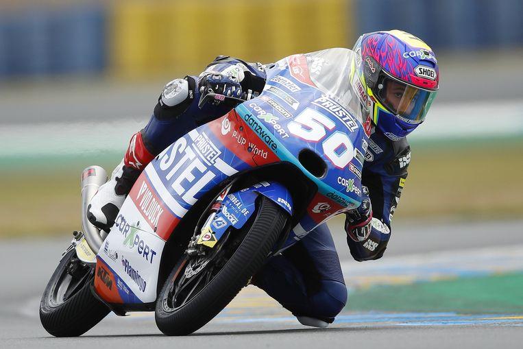 Jason Dupasquier tijdens de kwalificatie voor de GP in Le Mans op 15 mei 2021. Beeld EPA