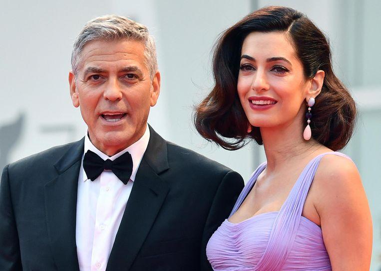 Het echtpaar Clooney. Beeld EPA