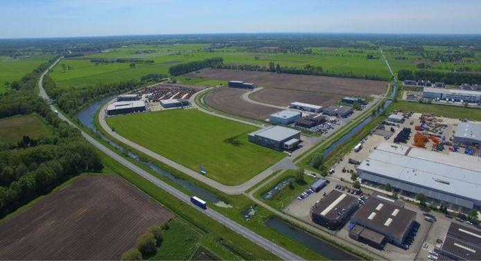 Het Holtense bedrijventerrein Vletgaarsmaten, gezien vanuit de lucht.