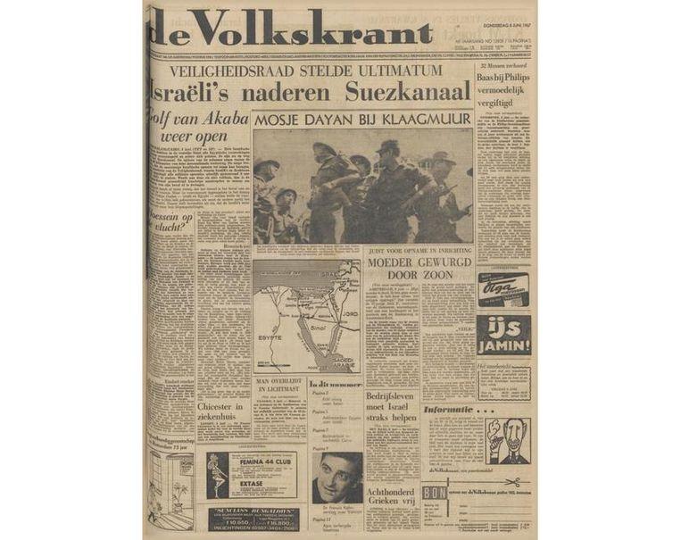 De voorpagina van de Volkskrant van 8 juni, 1967. Beeld