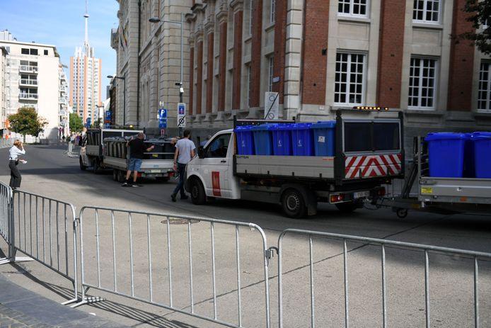 Aan vuilnisbakken geen gebrek want UCI wil een proper Leuven tijdens het WK Wielrennen.