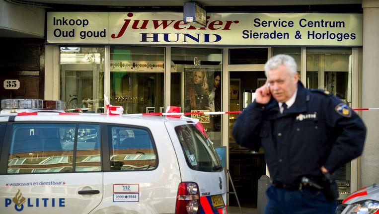 Archieffoto van de fatale dag dat juwelier Hund werd overvallen. © ANP Beeld