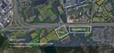 Het eventuele parkeerterrein in Waalre zou liggen bij de aangegeven plaats met 'P-hub?'.