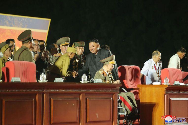De Noord-Koreaanse leider Kim Jong-un tijdens een viering van 68 jaar wapenstilstand afgelopen dinsdag. Beeld AFP
