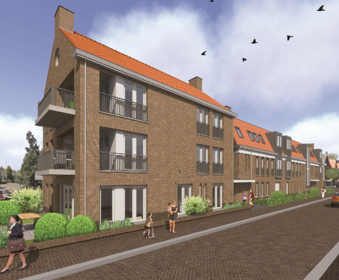 Een artist impression van appartementencomplex Middendorp, dat op de plaats van de bouwval komt te staan.
