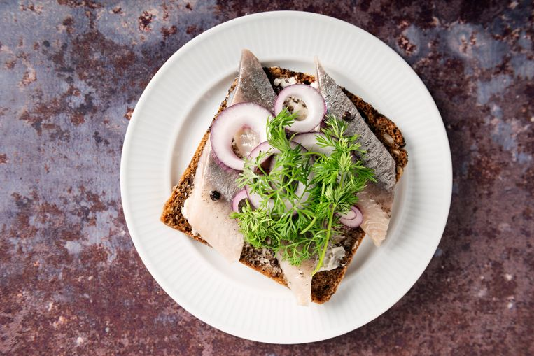 """Traditional danish """"smørrebrød"""" or open sandwich made with a slice of buttered rye bread, marinated herring, onion and dill. Colour, horizontal with some copy space. Beeld Getty Images"""