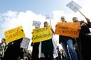 Basisschoolleraren in oktober tijdens een protestmanifestatie in Den Haag.