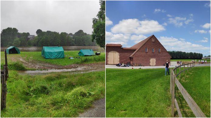 Links: de eerste kampplaats van Chiro Heist Centrum in de Ardennen, rechts: hun huidige kampplaats naast de stallen van Willy Naessens in de Vlaamse Ardennen.