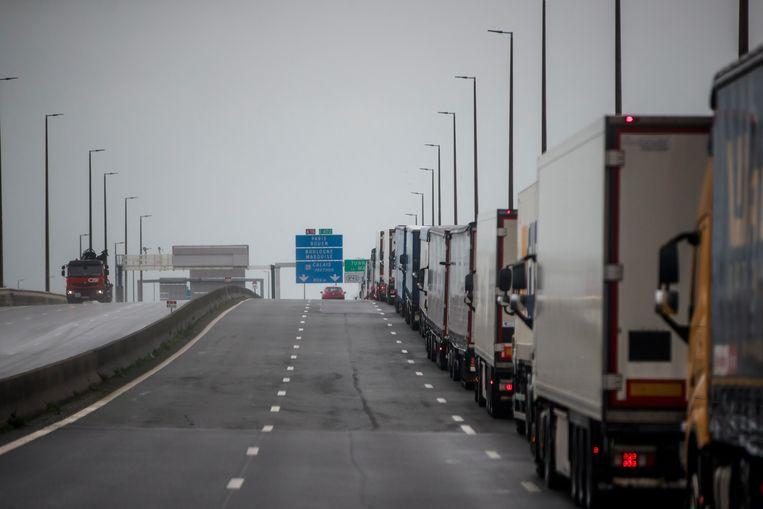 Vrachtwagens in de buurt van Calais.  Beeld EPA