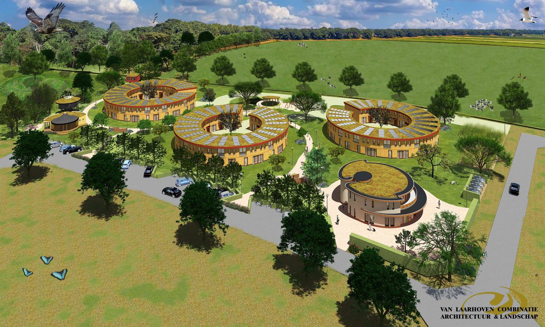 Een eerder ontwerp van het ecodorp in Boekel, waaruit duidelijk blijkt dat het geïnspireerd is op zonnebloemen.