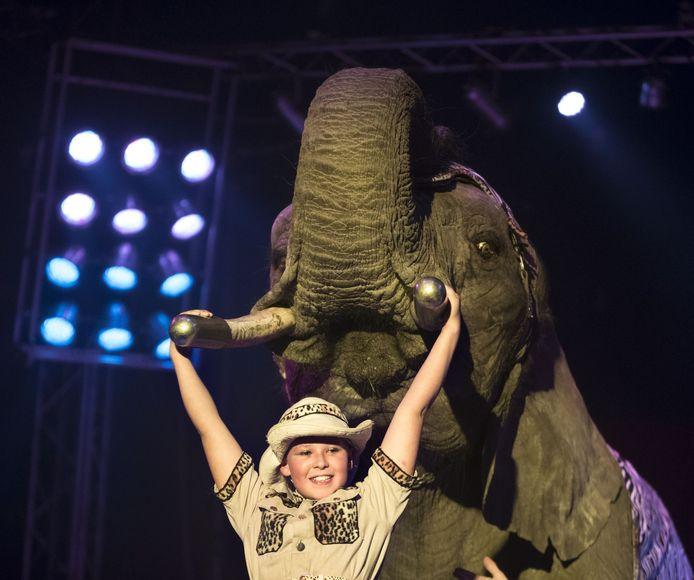 Sharon Freiwald hangt aan de slagtanden van Buba, tijdens het laatste optreden van het dier in 2015.