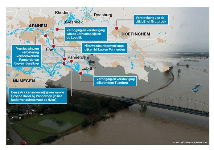 Wat is er de afgelopen 25 jaar gebeurd aan veiligheidsmaatregelen rond de dijken in de Liemers en Achterhoek?