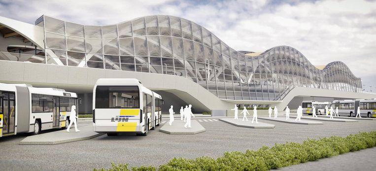 Dit is hoe het nieuwe station er in 2024 of 2025 zal uitzien. Het busstation verhuist van de voorzijde naar de achterzijde van het treinstation.