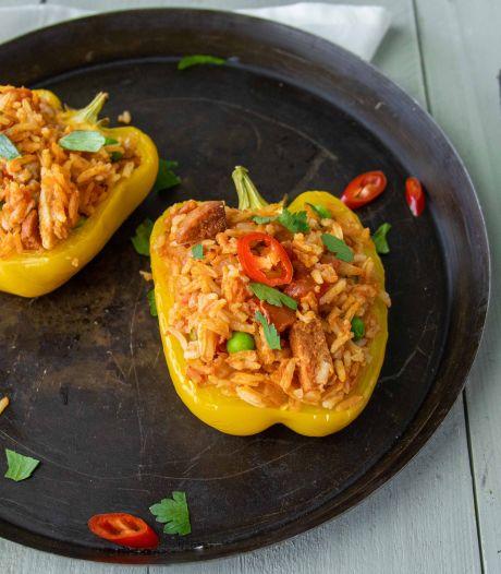 Wat Eten We Vandaag: Gevulde paprika's met rijst, kippendij en chorizo