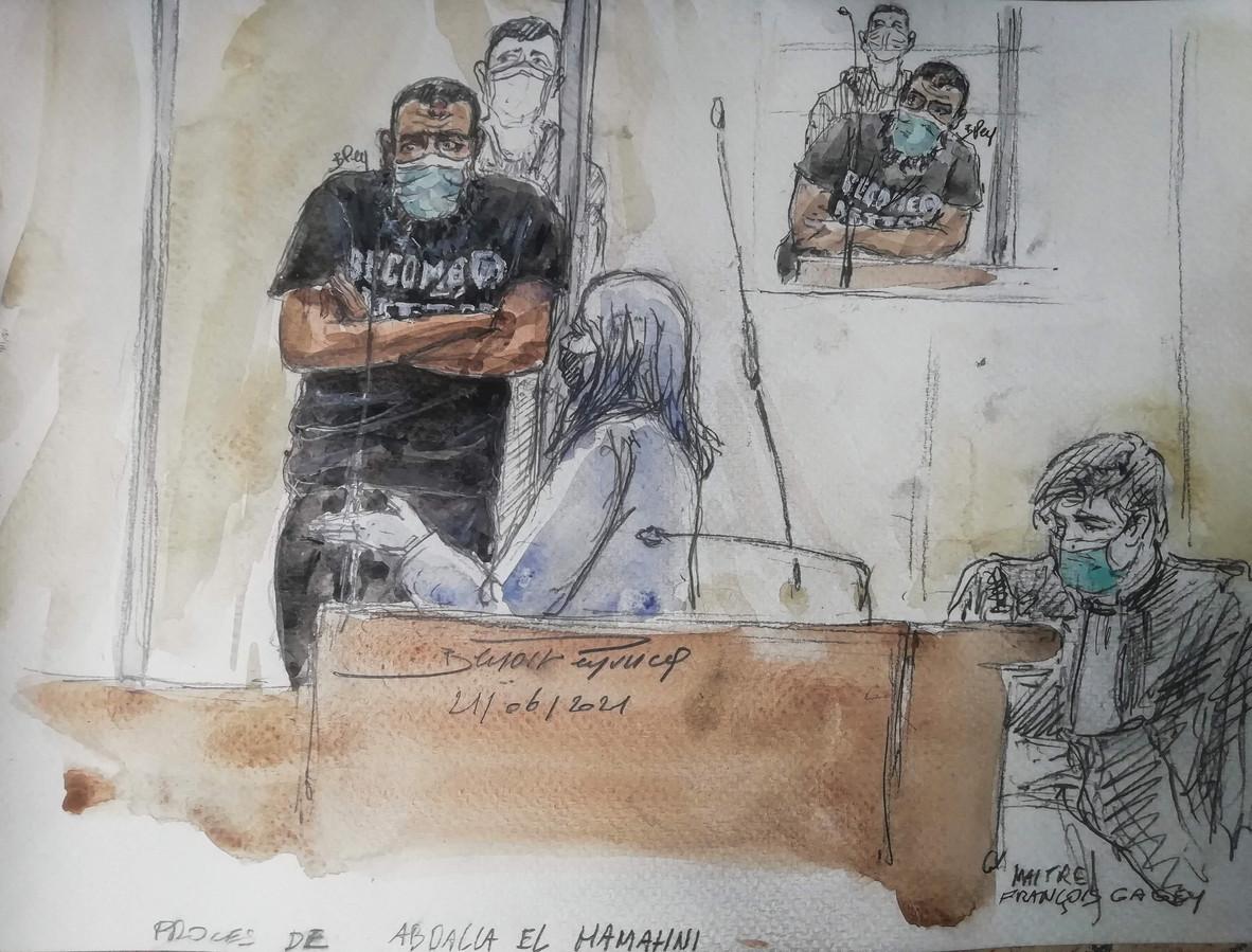 Illustration du procès d'Abdalla El Hamahmi