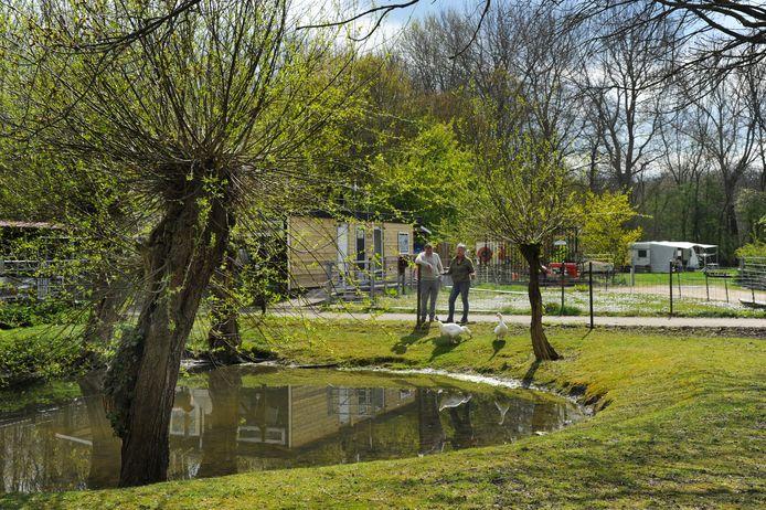 Minicamping de Heksenketel,  op de achtergrond Lydia en Bram van Leeuwen.