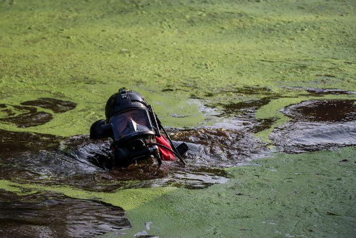 Twee duikers van de brandweer gingen op zoek naar eventuele inzittenden van het busje.