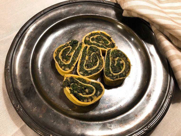 Omeletrol met spinazie, 16de-eeuws. Beeld Onno Kleyn