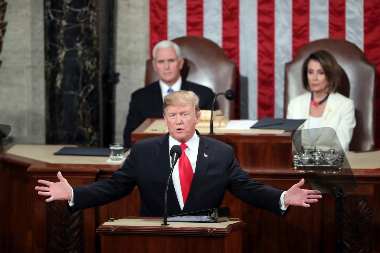 President Donald Trump tijdens zijn vorige State of the Union. Beeld AP
