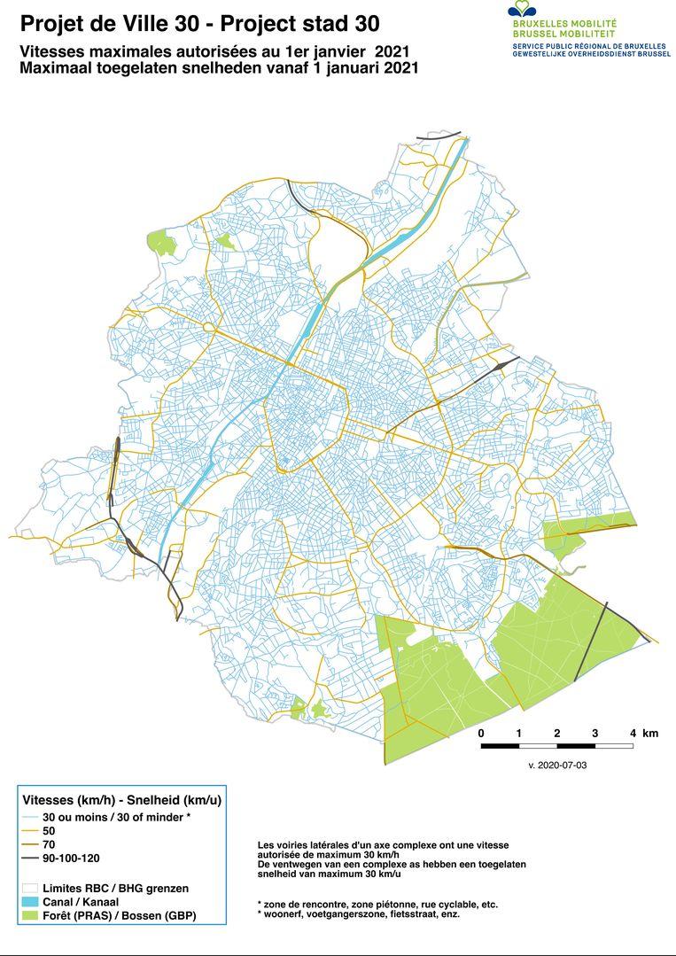 De nieuwe situatie: op enkele belangrijke verkeersassen na wordt Brussel een zone 30. Beeld RV
