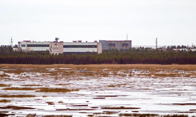Deze foto uit november 2011 laat gebouwen zien bij een militaire basis in de Noord-Russische plaats Njonoksa, waar op 8 augustus van dit jaar zeker vijf mensen omkwamen bij een explosie.  Beeld AFP