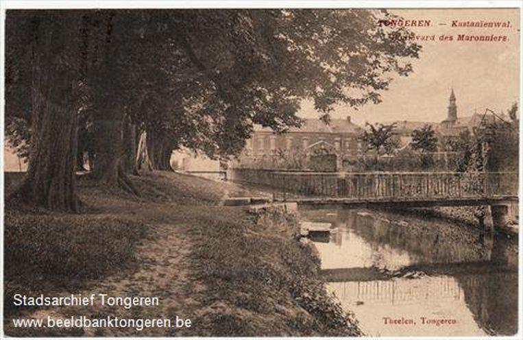 Zicht op de Jeker aan de Kastanjewal rond 1920.