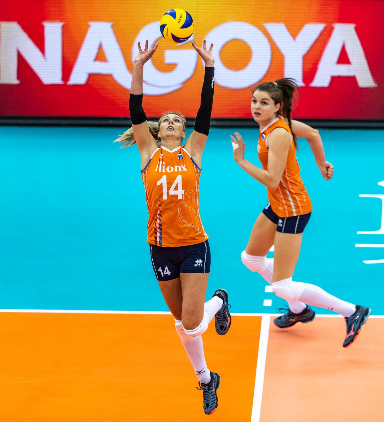 Laura Dijkema (#14) tijdens het wereldkampioenschap volleybal in Nagoya, Japan