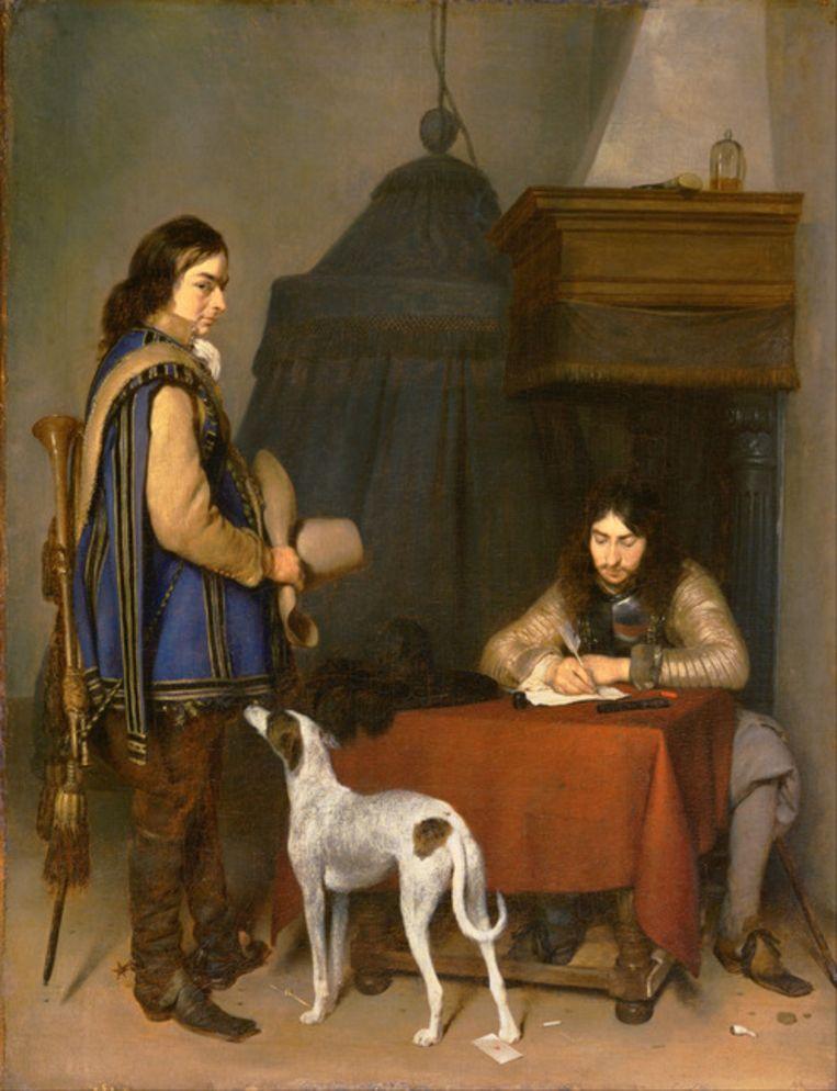 'Interieur met een briefschrijvende officier en een bode' Beeld Gerard ter Borch