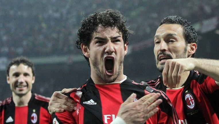 Alexandre Pato was de grote held in de Milanese derby. Beeld EPA