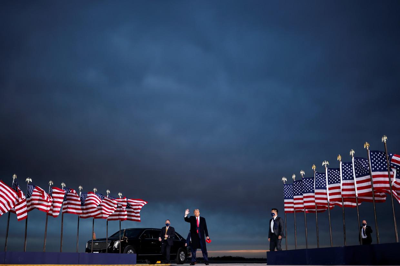 De Amerikaanse president Donald Trump tijdens zijn campagne in Des Moines, Iowa. Beeld Reuters