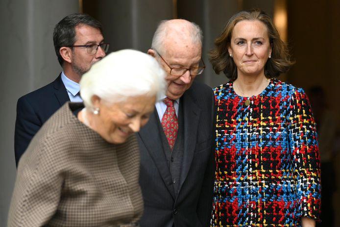 La princesse Claire photographiée lors de la cérémonie de remise du Prix Terre d'Avenir par la Reine Paola, en présence du Roi Albert II.