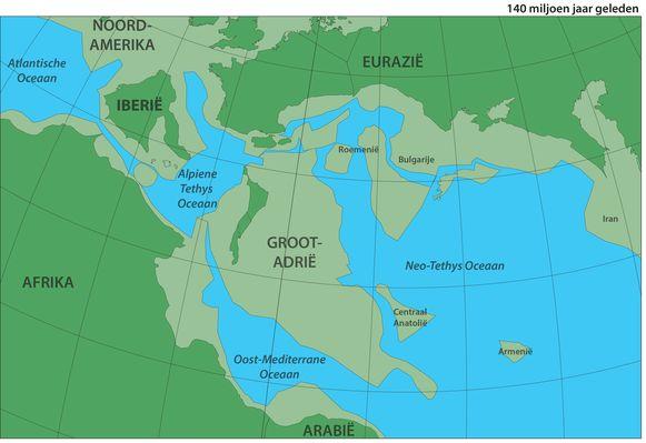 Groot Adrië botste 100 tot 120 miljoen jaar geleden met het zuiden van Europa.