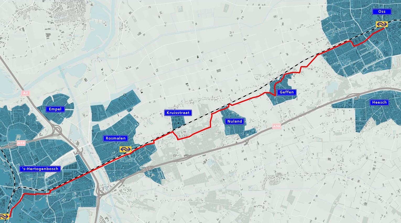 De route die snelfietspad F59 krijgt.